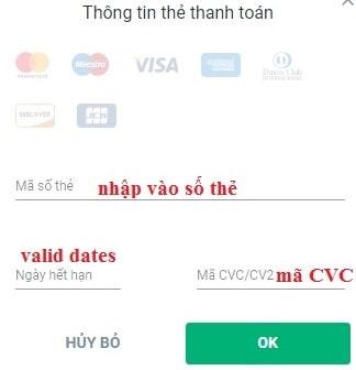Nạp tiền bằng thẻ VISA