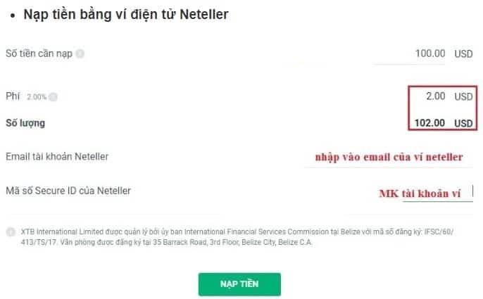 Nạp tiền từ ví điện tử Neteller