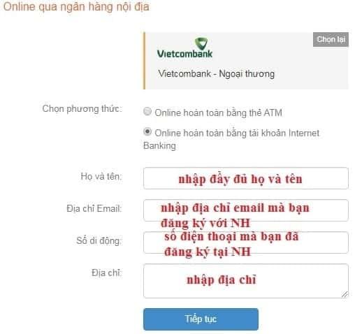 Hướng dẫn nạp tiền bằng Internet Banking