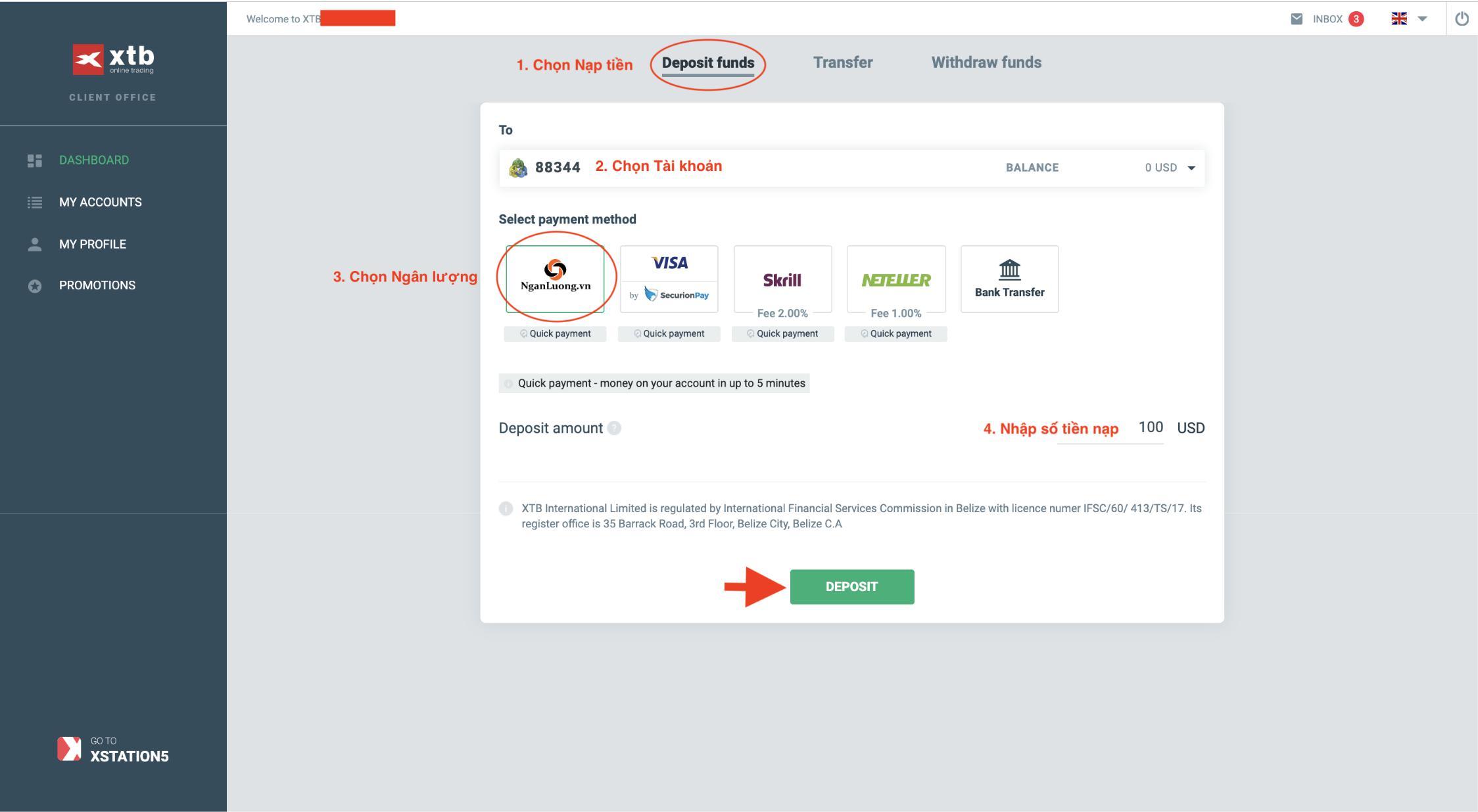 Hướng dẫn chi tiết nạp tiền vào XTB qua cổng NganLuong.vn