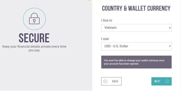 Lựa chọn quốc gia và loại tiền tệ sử dụng trong Skrill