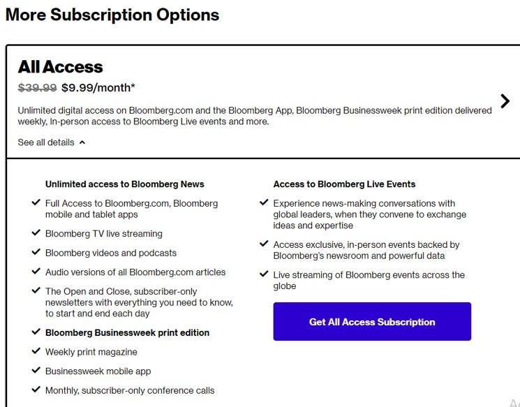 Bạn có thể sử dụng gói dịch vụ cơ bản của Bloomberg chỉ với 9.99$/tháng